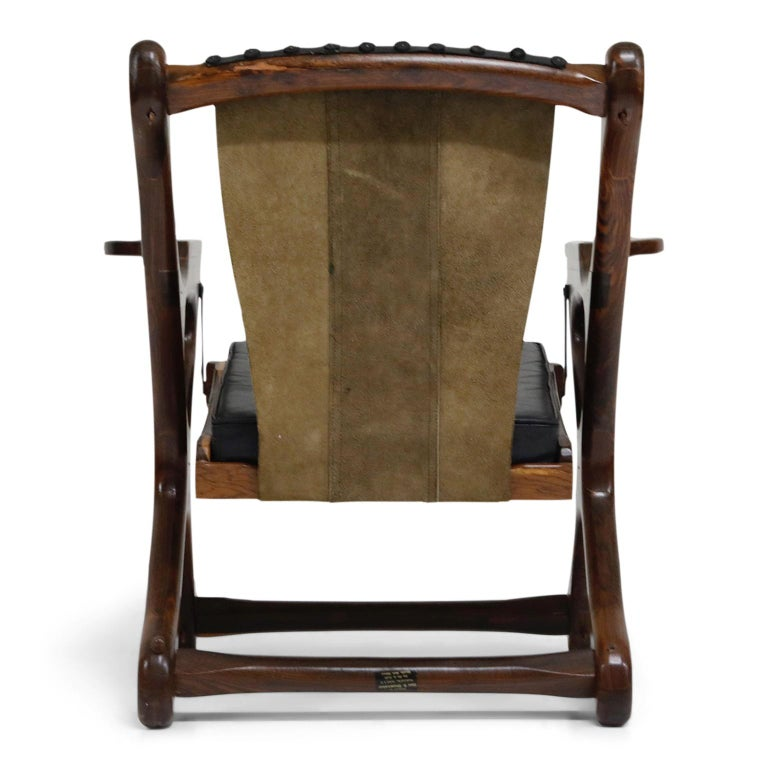 Don Shoemaker for Senal S.A. Cocobolo Rosewood Swinger Chair and Ottoman, Signed For Sale 1