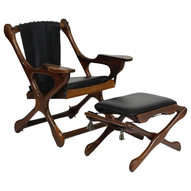 Don Shoemaker for Senal S.A. Cocobolo Rosewood Swinger Chair and Ottoman, Signed For Sale