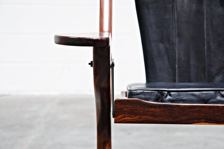 Don Shoemaker for Senal S.A. Cocobolo Rosewood 'Swinger' Rocking Chair, Signed For Sale 4