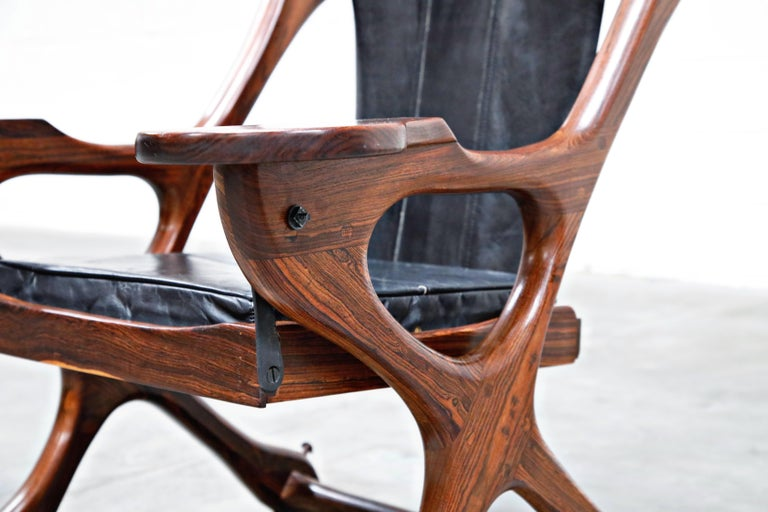 Don Shoemaker for Senal S.A. Cocobolo Rosewood 'Swinger' Rocking Chair, Signed For Sale 6
