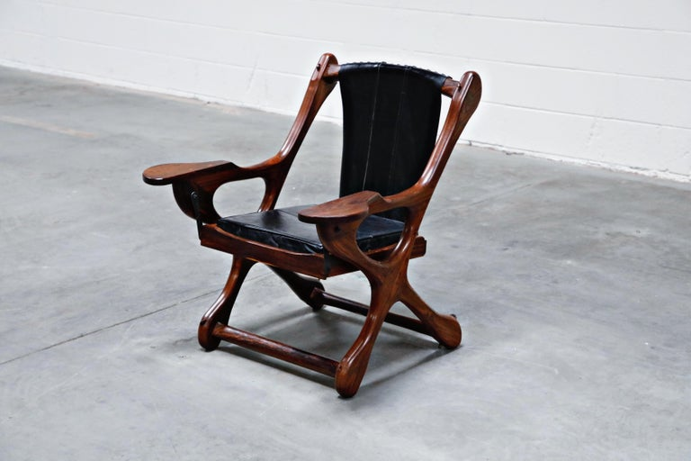 Mid-Century Modern Don Shoemaker for Senal S.A. Cocobolo Rosewood 'Swinger' Rocking Chair, Signed For Sale