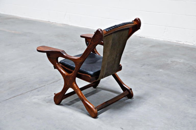 Don Shoemaker for Senal S.A. Cocobolo Rosewood 'Swinger' Rocking Chair, Signed In Excellent Condition For Sale In Los Angeles, CA