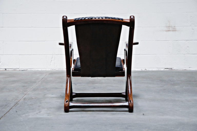 Mid-20th Century Don Shoemaker for Senal S.A. Cocobolo Rosewood 'Swinger' Rocking Chair, Signed For Sale