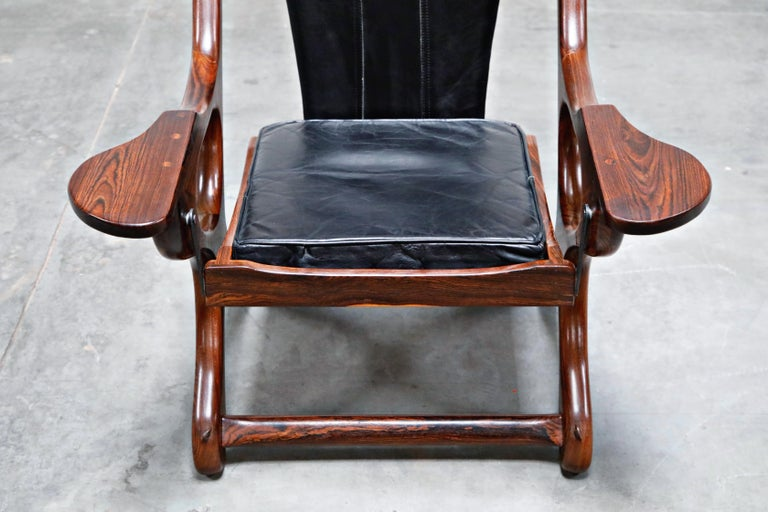 Don Shoemaker for Senal S.A. Cocobolo Rosewood 'Swinger' Rocking Chair, Signed For Sale 1
