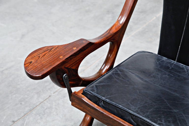 Don Shoemaker for Senal S.A. Cocobolo Rosewood 'Swinger' Rocking Chair, Signed For Sale 2