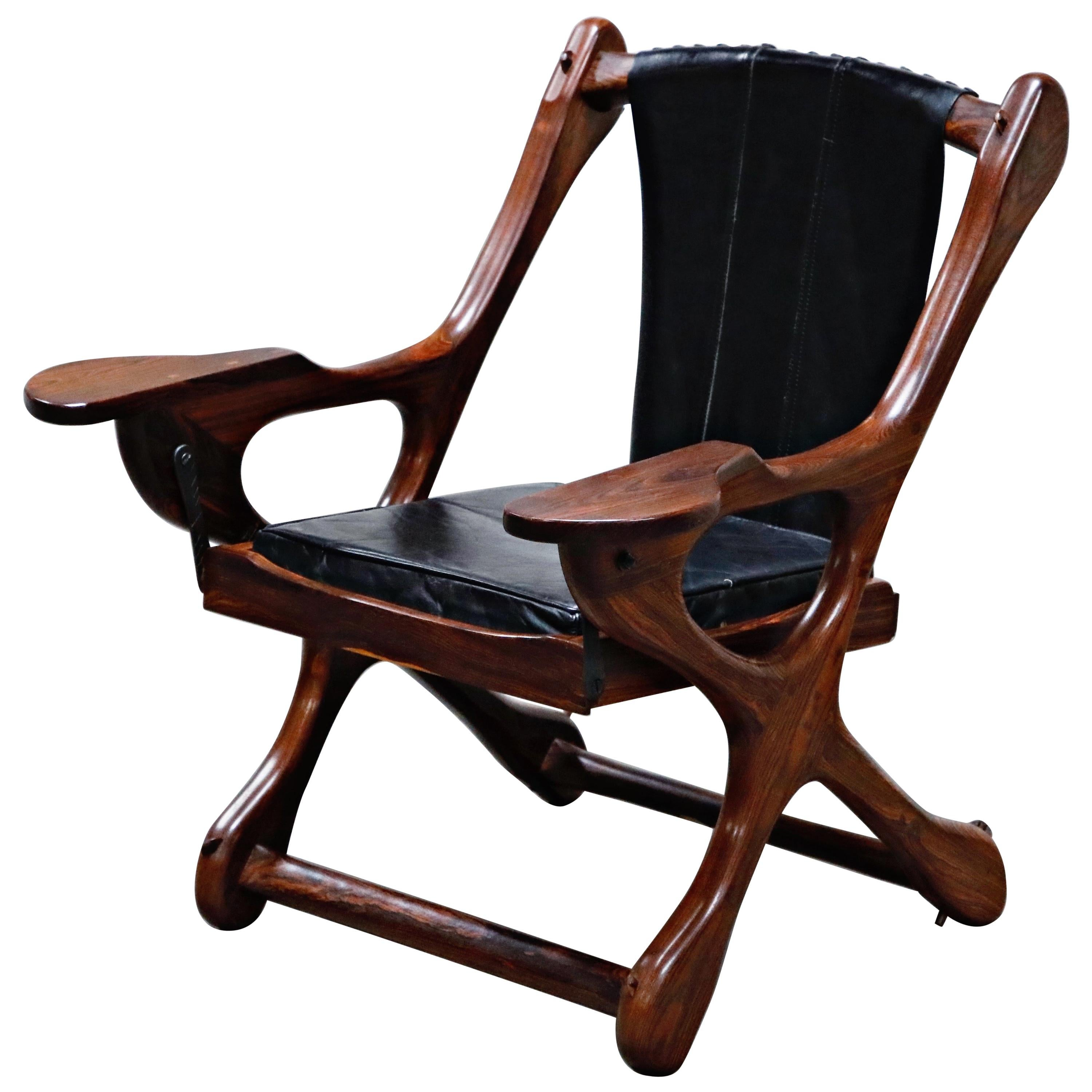 Don Shoemaker for Senal S.A. Cocobolo Rosewood 'Swinger' Rocking Chair, Signed