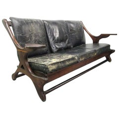 Don Shoemaker Leather Rosewood Sofa