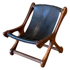 Don Shoemaker Mexican Sling Chair for Señal, Rosewood and Leather Midcentury