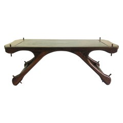 Don Shoemaker Mid-Century Modern Coffee Table with Leather Top
