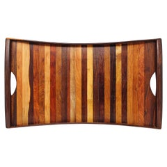Don Shoemaker Mixed Exotic Wood Tray Vessel, 1970