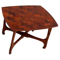 Don Shoemaker Senal Side Table in Exotic Cocobolo Wood Marquetry 1950s Mexico