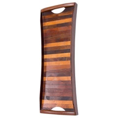 Don Shoemaker Striped Exotic Wood Long Tapered Serving Tray with Handles, 1970s
