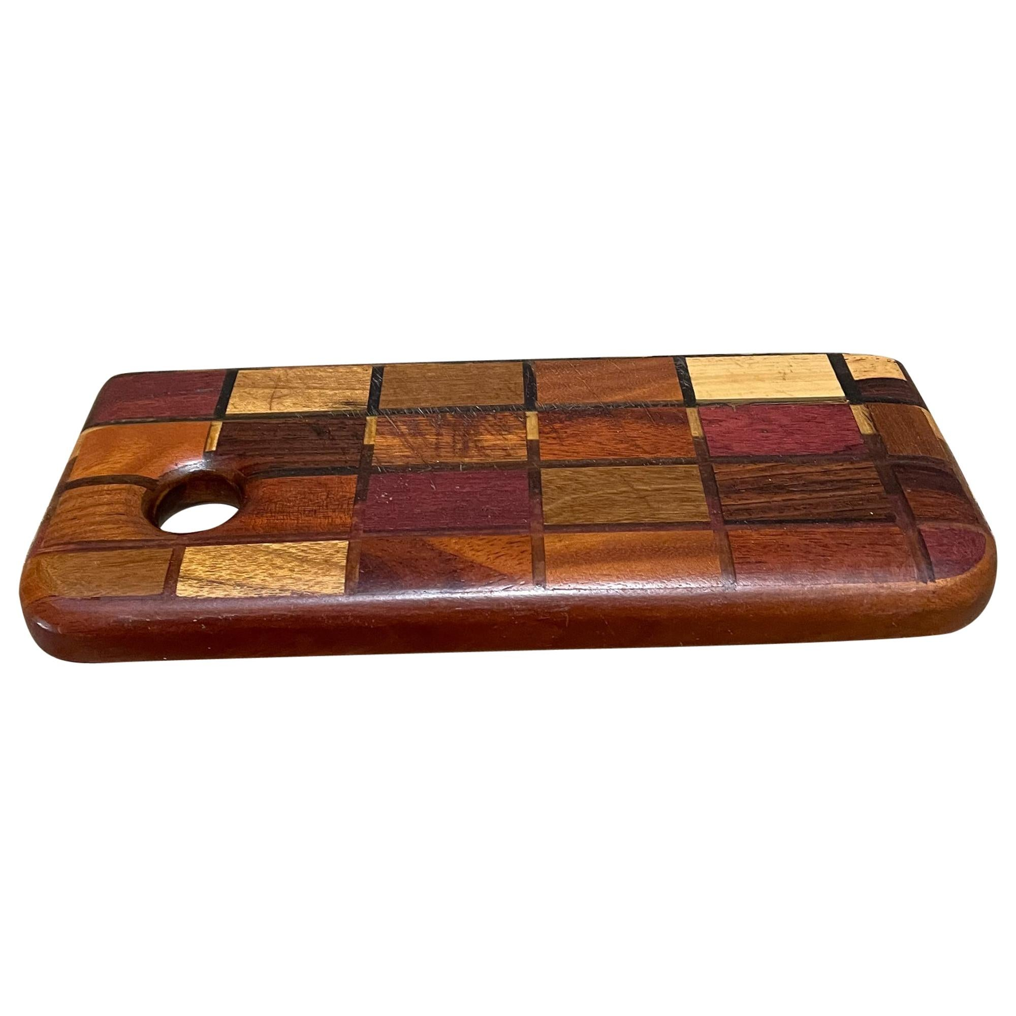 Don Shoemaker Style Exotic Checkered Wood Cutting Board Entertaining, 1960s