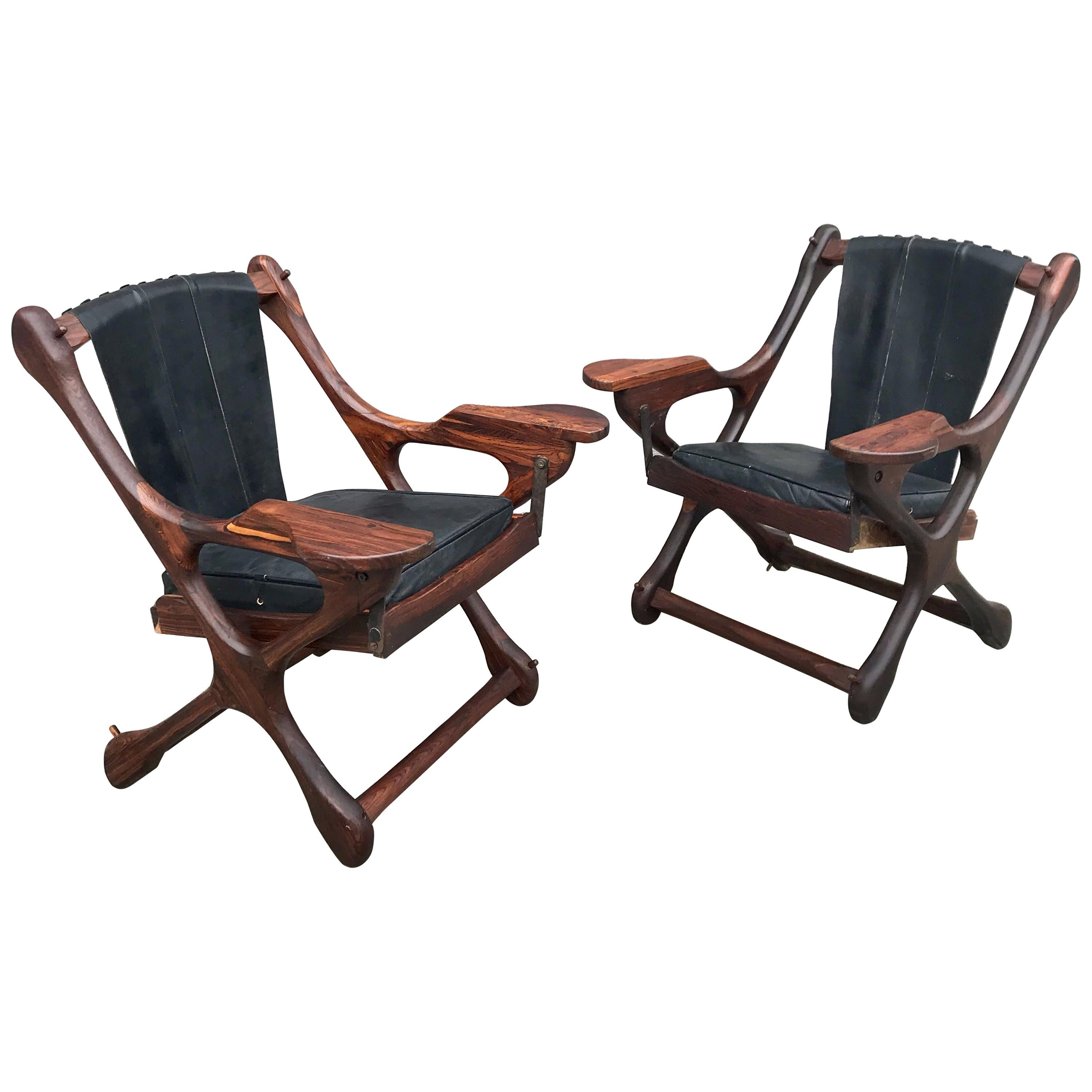 Don Shoemaker Leather and Wood 'Swing' Chairs, 20th Century