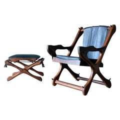 Don Shoemaker 'Swinger' Sling Chair and Ottoman, ca. 1965