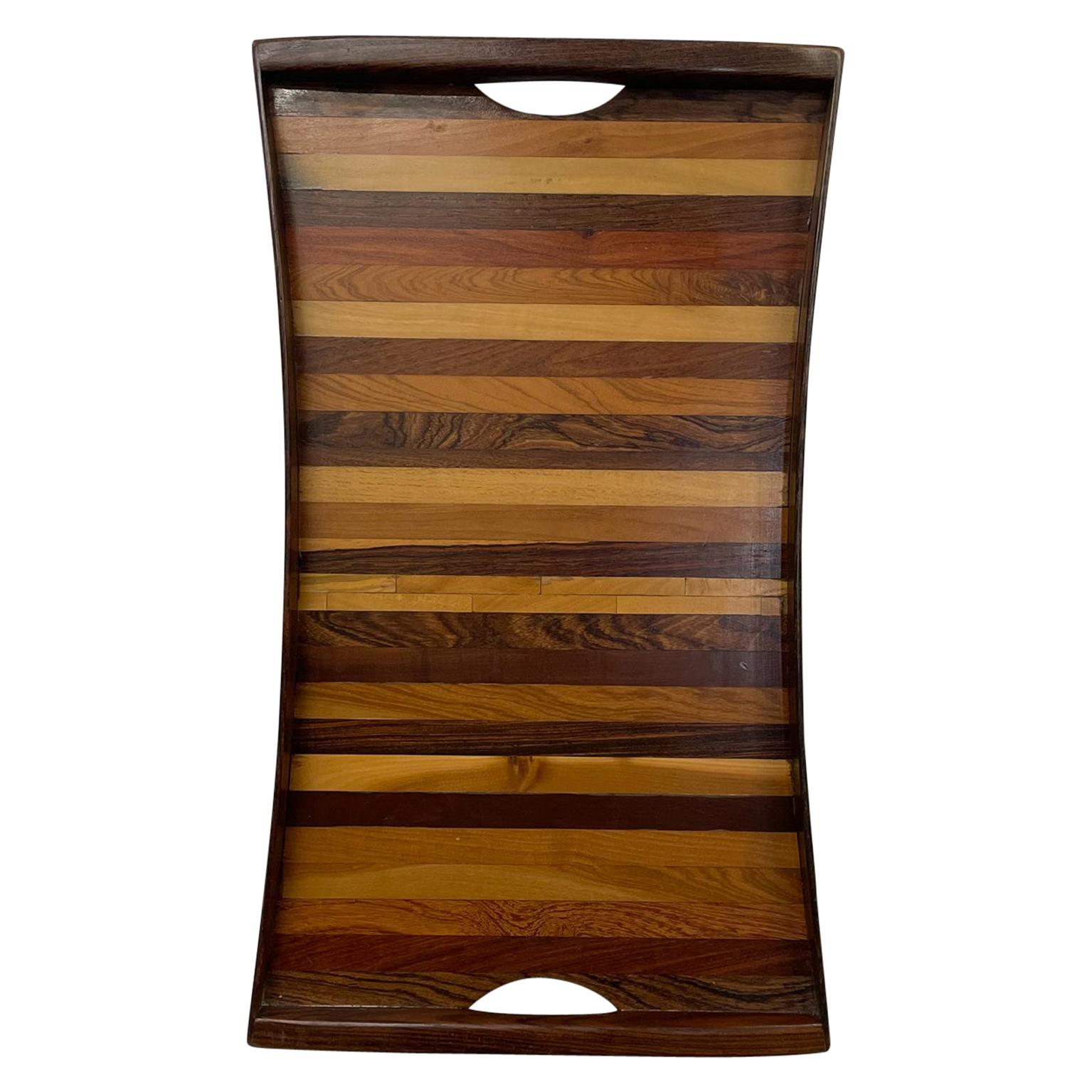 Don Shoemaker Tapered Stripe Exotic Wood Service Tray Senal, Mexico, 1970s