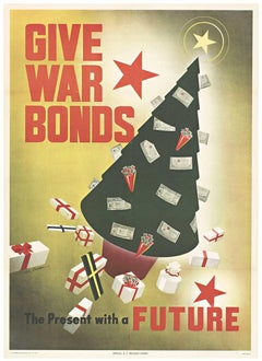 Original Give War Bonds, the Present with a Future vintage WWII poster