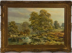 Don Vaughan (b.1916) - Signed & Framed 20th Century Oil, Fishing Riverscape