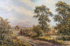 Foraging on a Walk, Impressionist Scene of an English Countryside, Signed
