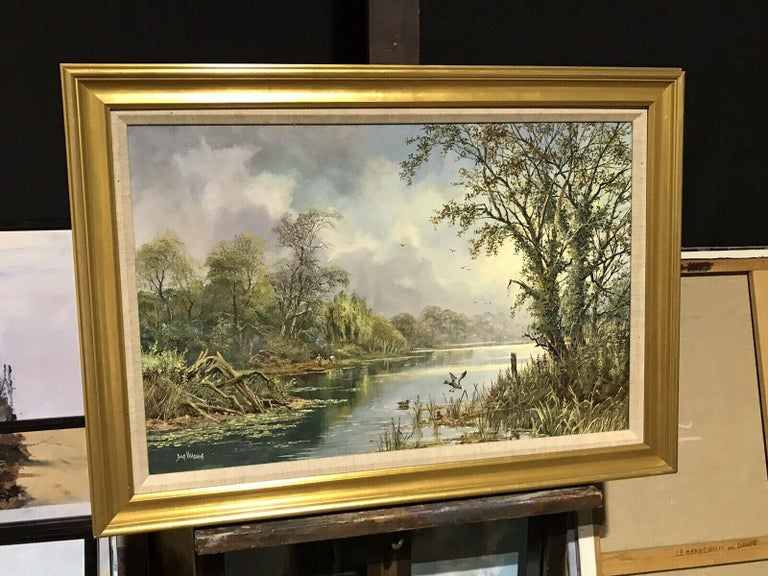 LARGE ORIGINAL ENGLISH OIL TRANQUIL RIVER LANDSCAPE REED CUTTING & DUCKS - Painting by Don Vaughan