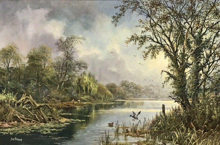 LARGE ORIGINAL ENGLISH OIL TRANQUIL RIVER LANDSCAPE REED CUTTING & DUCKS - Impressionist Painting by Don Vaughan