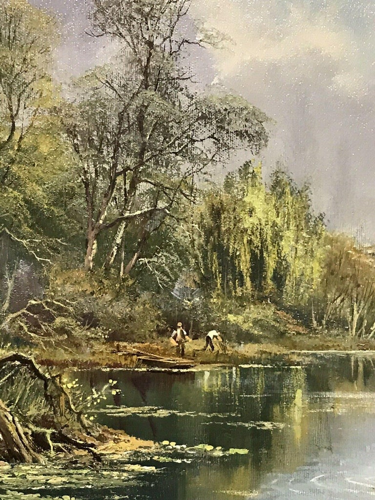 LARGE ORIGINAL ENGLISH OIL TRANQUIL RIVER LANDSCAPE REED CUTTING & DUCKS For Sale 1