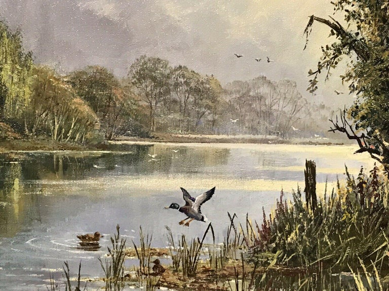 LARGE ORIGINAL ENGLISH OIL TRANQUIL RIVER LANDSCAPE REED CUTTING & DUCKS For Sale 2