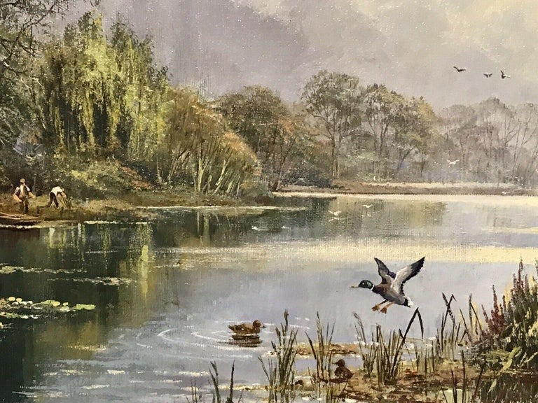 LARGE ORIGINAL ENGLISH OIL TRANQUIL RIVER LANDSCAPE REED CUTTING & DUCKS For Sale 3