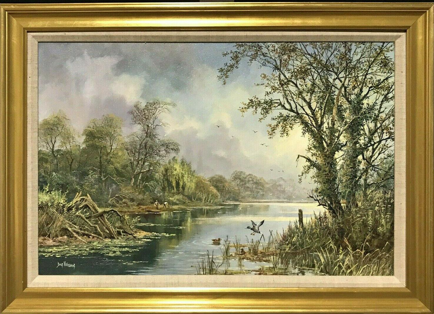 LARGE ORIGINAL ENGLISH OIL TRANQUIL RIVER LANDSCAPE REED CUTTING & DUCKS