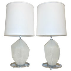 Donà Contemporary Italian Pair of Faceted Solid Rock White Murano Glass Lamps