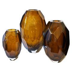 Donà Furnace Mid-Century Modern Amber Molato Three Murano Glass Vases, 1998s