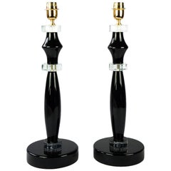 Donà Furnace Mid-Century Modern Black Two of Murano Glass Table Lamps, 1978
