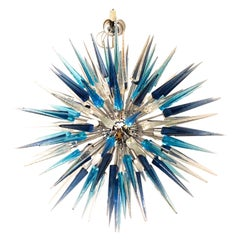 Dona Furnace Mid-Century Modern Crystal Blue Murano Glass Chandelier, 1998