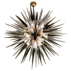 Dona Furnace Mid-Century Modern Crystal Grey Murano Glass Chandelier Sputnik