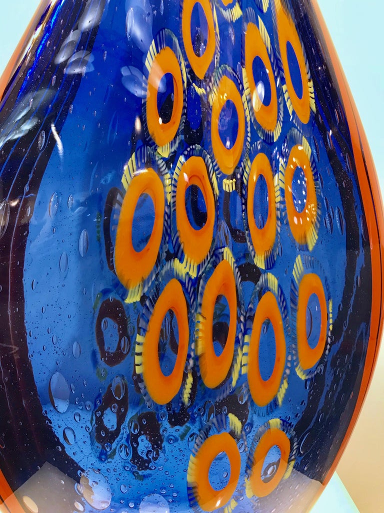 Dona Modern Art Glass Blue and Orange Sculpture Vase with Red and Yellow Murrine In Excellent Condition For Sale In New York, NY