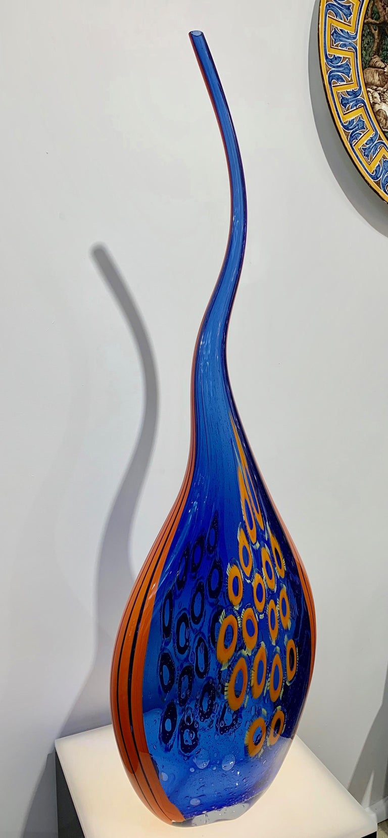 Contemporary Dona Modern Art Glass Blue and Orange Sculpture Vase with Red and Yellow Murrine For Sale