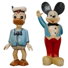 Donald and Mickey, Wooden Sculptures
