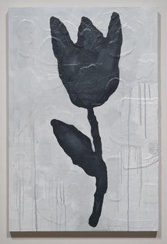 Donald Baechler, BLACK FLOWER (Bronze flower) #2, 2011, mixed media on canvas