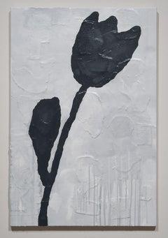 Donald Baechler, BLACK FLOWER (Bronze flower) #3, 2011, mixed media on canvas