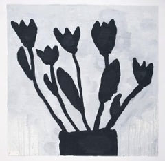Donald Baechler, BLACK FLOWERS, 2011, black and white, mixed media on paper