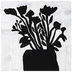 Donald Baechler, Black Flowers, Screenprint with Flocking, 2009