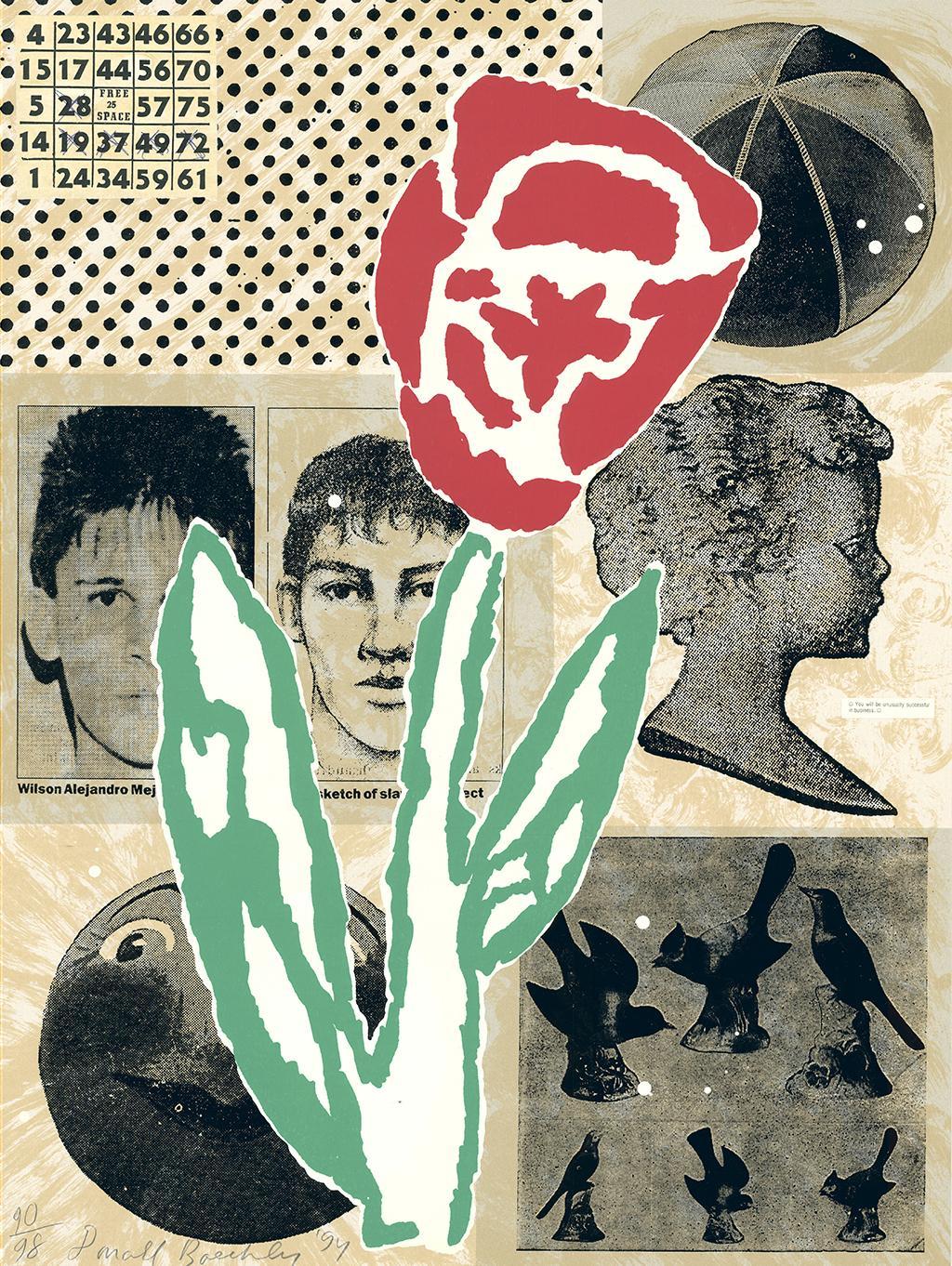 """Donald Baechler - """"Flower"""" - unique piece - edition: 27/98"""