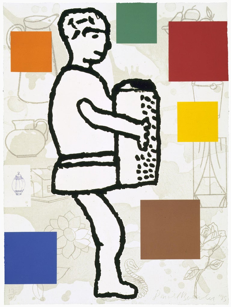 Donald Baechler Abstract Print - The Accordion Player #1