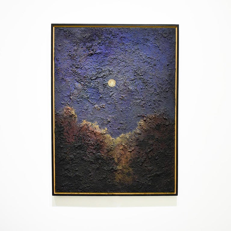 Walking on the Moon: Large Abstracted Landscape Painting of Full Moon & Blue Sky For Sale 1