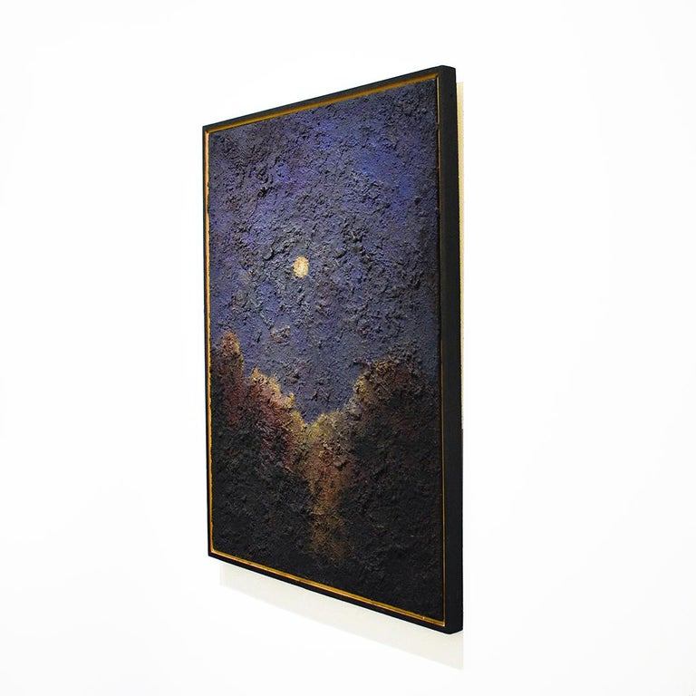 Walking on the Moon: Large Abstracted Landscape Painting of Full Moon & Blue Sky For Sale 2