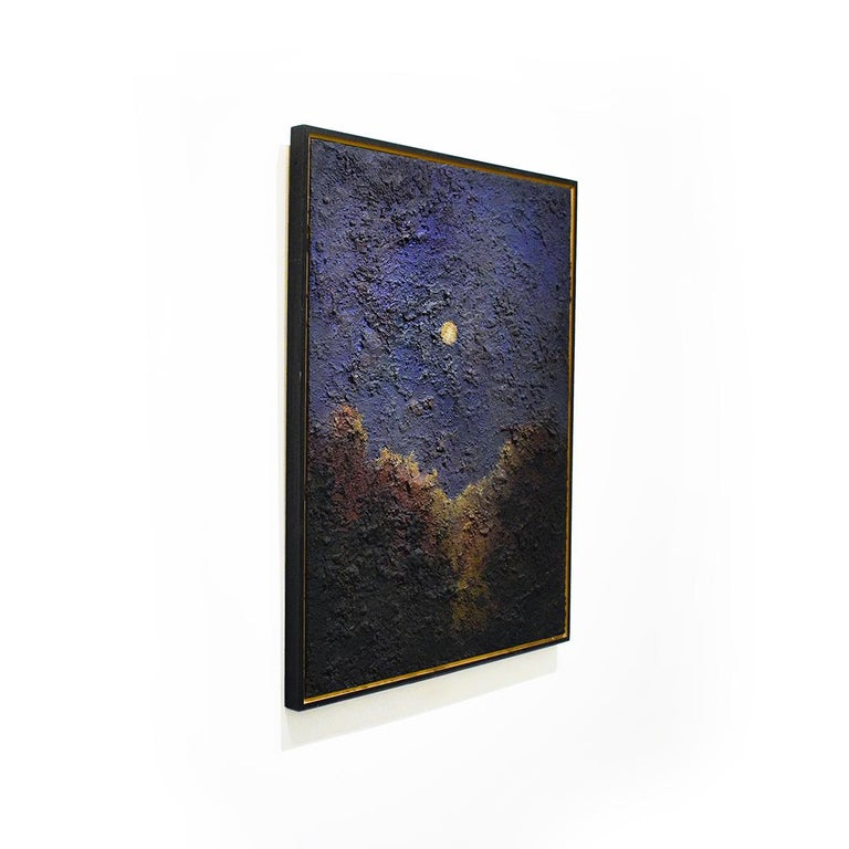 Walking on the Moon: Large Abstracted Landscape Painting of Full Moon & Blue Sky For Sale 5