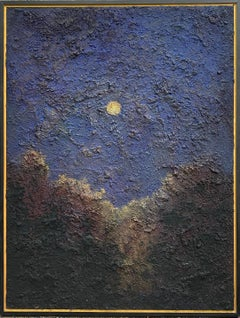 Walking on the Moon: Large Abstracted Landscape Painting of Full Moon & Blue Sky