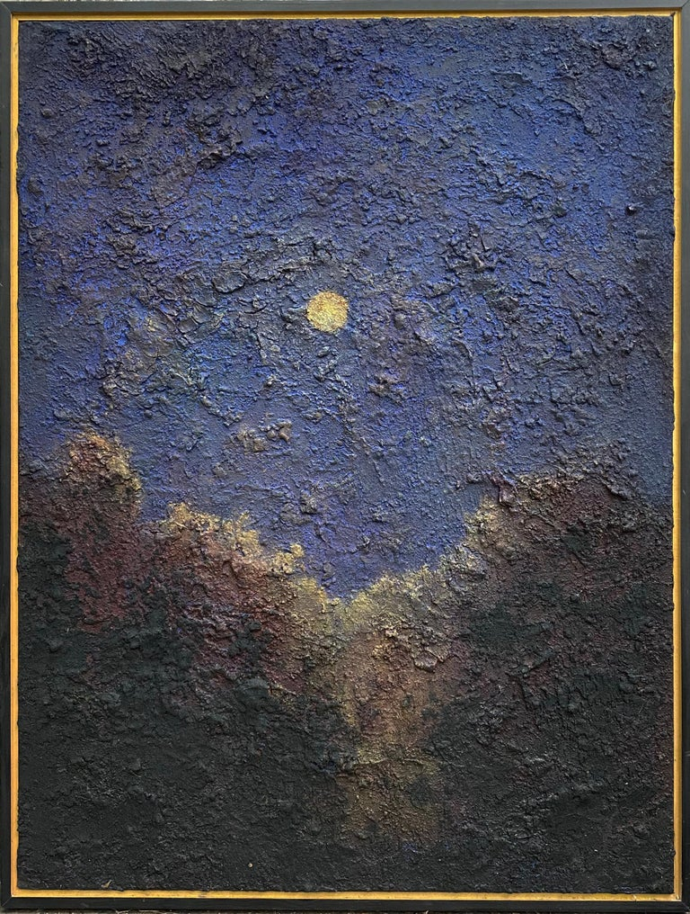 "Tonalist style abstracted landscape of a full yellow moon in an indigo blue sky above a dark tree horizon  ""Walking on the Moon"", made by Donald Bracken in 2019  40 x 30 inches in black painted frame with gold detail, ready to hang as is  Abstract"