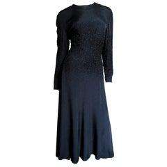 Donald Brooks Elaborately Beaded Waist Silk Dress 1970s