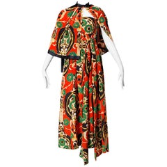 Donald Brooks Vintage 1970s Asian-Inspired Silk Print Gown + Cape Ensemble